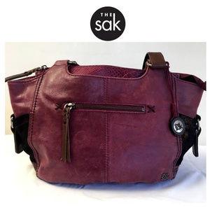 The Sak Plum and Brown Leather Shoulder Bag